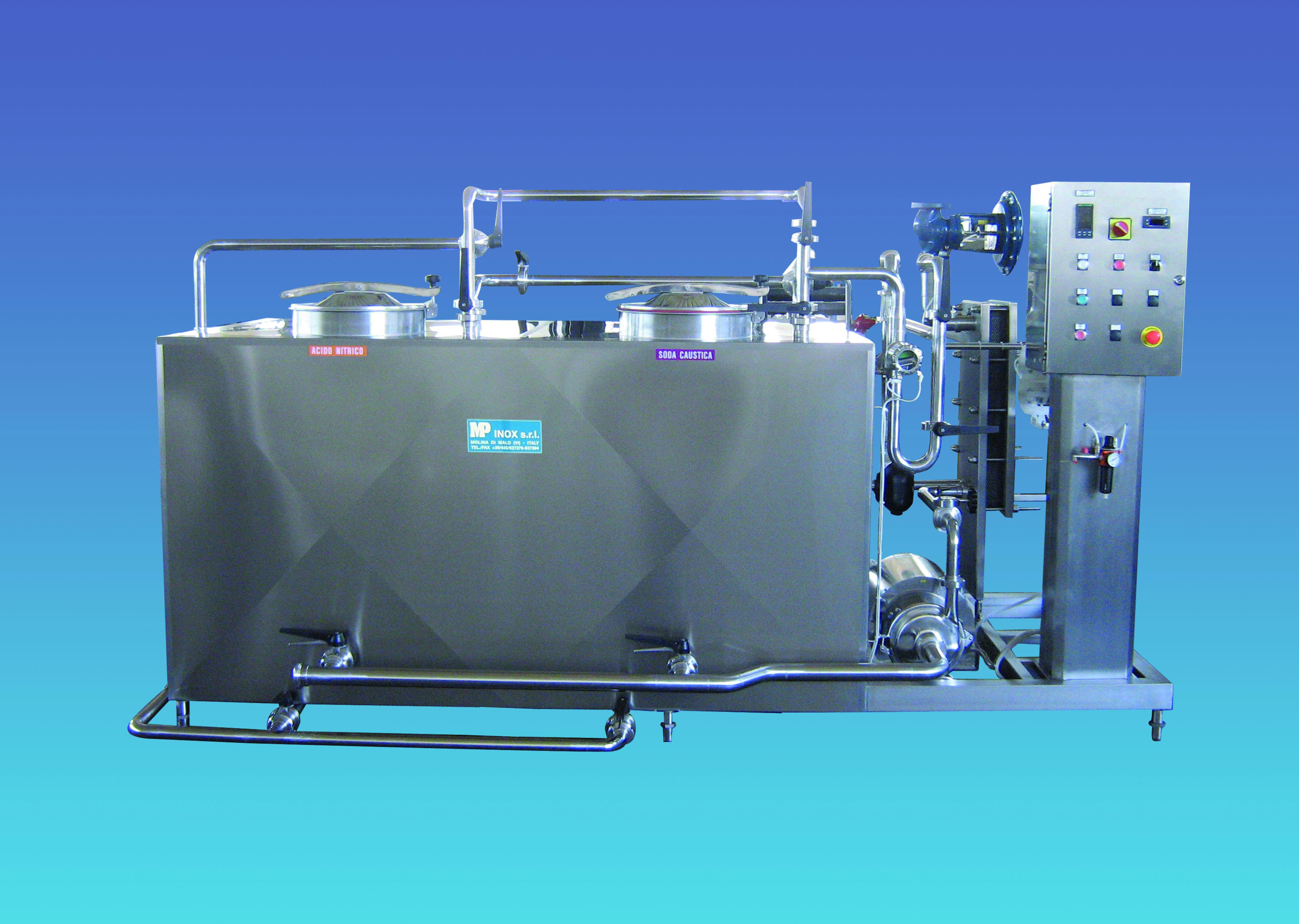 Impianto lavaggio CIP semiautomatico a 2 scomparti